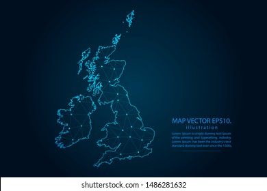 map of uk Counties with Abstract mash line and point scales on Dark background . Wire frame 3D mesh polygonal network line, design polygon sphere, dot and structure. Vector illustration eps 10.