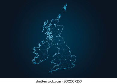 Map of uk Counties , Abstract mash line and point scales on dark background for your web site design map logo, app, ui,Travel. Vector illustration eps 10.
