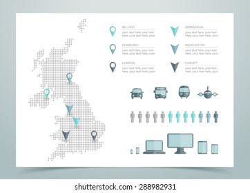 Map Of UK Dotted Vector