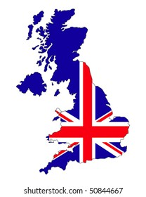 map of UK filled with Union Jack flag of United Kingdom states