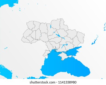 Map of Ukraine. All regions outline on different layers. The river Dnipro and Black sea. Vector illustration