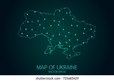 Map of Ukraine - With glowing point and lines scales on the dark gradient background, 3D mesh polygonal network connections.Vector illustration eps 10.