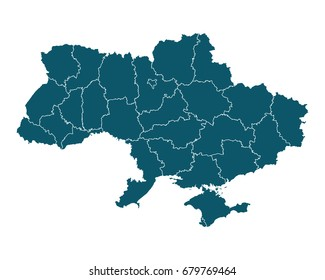 Map of Ukraine - High detailed on white background. Abstract design vector illustration eps 10.