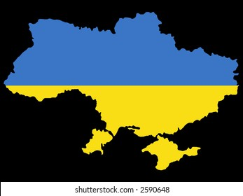 map of Ukraine and Ukrainian flag illustration