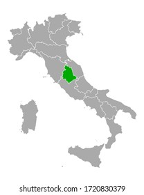 Map of Umbria in Italy on white
