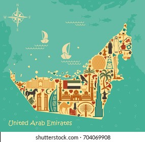 Map of United Arab Emirates consisting of the traditional symbols of Dubai