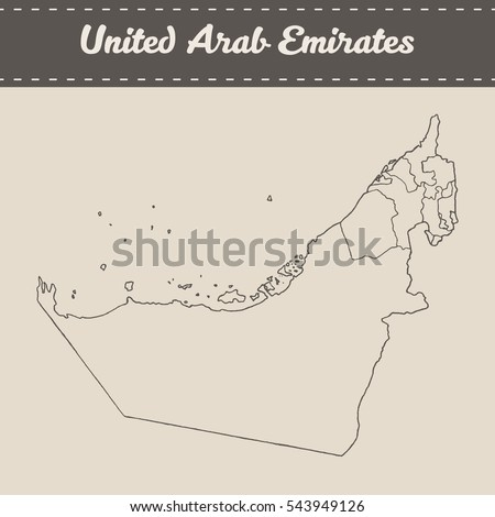 Map of the United Arab Emirates with separable borders, hand drawn vector illustration, sketch