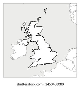 Map of United Kingdom of Great Britain and Northern Ireland black thick outline highlighted with neighbor countries.