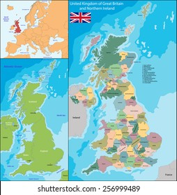 Map of the United Kingdom of Great Britain and Northern Ireland