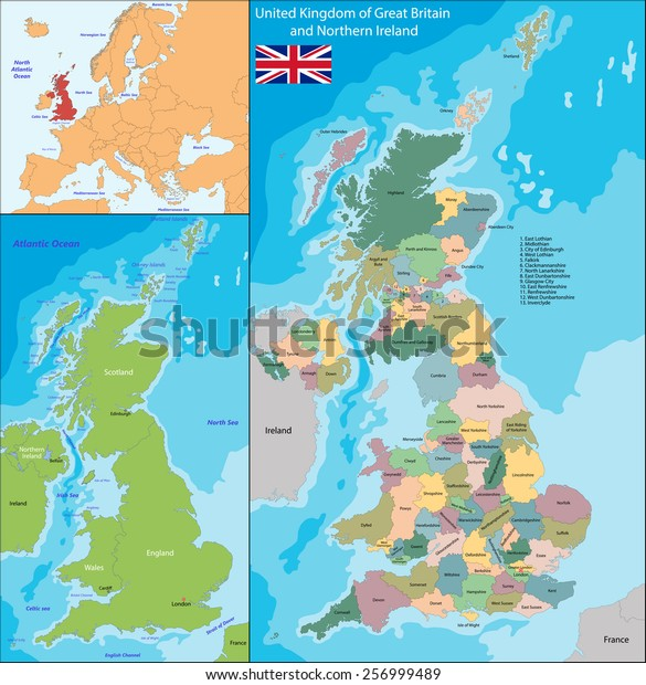 Map United Kingdom Great Britain Northern Stock Vector (Royalty Free on mercia map, france map, england map, ireland map, british america map, scotland map, serbia and montenegro map, roman empire map, great britain on a map, united kingdom map, spain map, french revolutionary wars map,