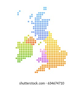 Map of United Kingdom and Ireland, Vector Colorful Illustration in dot style.