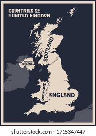 Map United Kingdom. Poster map of countries of the United Kingdom. Black and white print map of United Kingdom for t-shirt, poster, print. Hand-drawn graphic map with countries. Vector Illustration