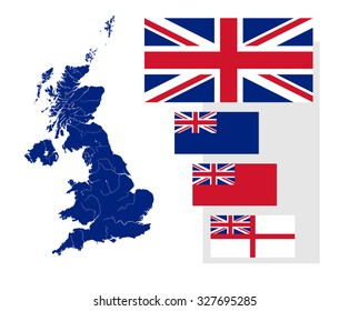 Map of the United Kingdom with rivers and four British flags - national flag, state ensign, civil ensign and naval ensign. Flags has a proper design, proportion and colors.