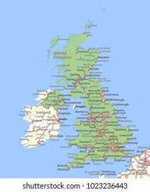Map of the United Kingdom. Shows country borders, urban areas, place names and roads. Labels in English where possible.Projection: Spherical Mercator.