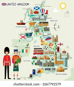 Map of United Kingdom and Travel Icons.United Kingdom Travel Map. Vector Illustration.