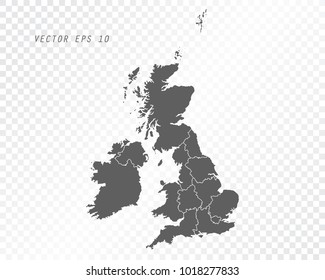 Map of united kingdom , UK vector illustration on transparent background. Items are placed on separate layers and editable.