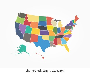 Map of United state of america . Flat color design .