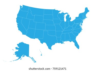 Map of United state of America. High detailed vector map - United state of America.