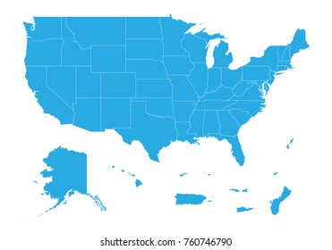 Map of United state of America Territories. High detailed vector map - United state of America Territories.