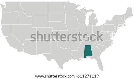 Map United States Alabama Highlighted Stock Vector (Royalty ...