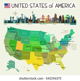 Map of the United States of America and City Icons. USA Map. Vector Illustration.