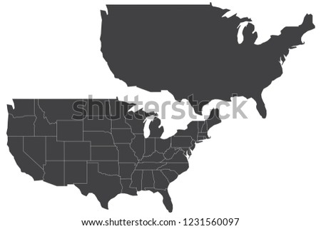Map United States America Couple Set Stock Vector Royalty Free