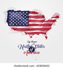 Map of United States of America with the decoration of the national flag. Symbol, poster, banner USA. Style watercolor drawing. America map with national flag. Vector illustration.