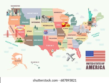 Map of the United States of America with Famous attractions. Vector illustration