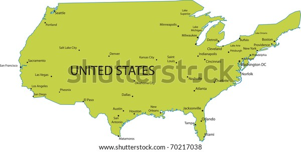 Map Of The United States Of America With Cities.Map United States America Major Cities Stock Vector Royalty Free