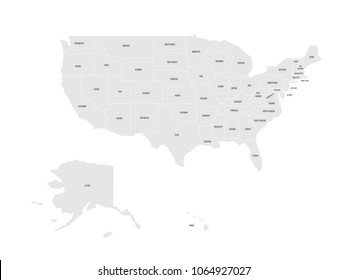 map of united states of america with name of each state simplified grey vector map