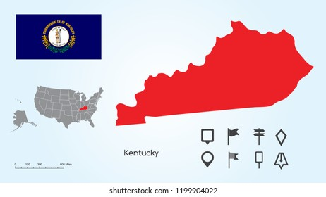 Map of The United States of America with the Selected State of Kentucky And Kentucky Flag with Locator Collection.