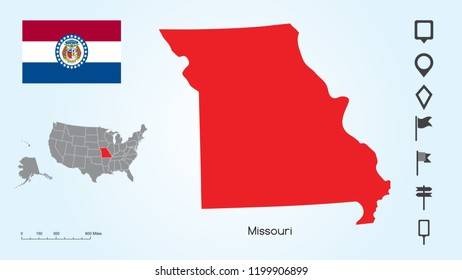 Map of The United States of America with the Selected State of Missouri And Missouri Flag with Locator Collection.