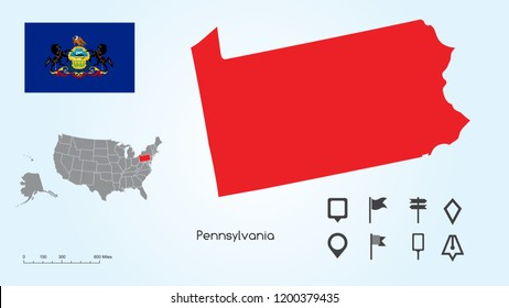 Map of The United States of America with the Selected State of Pennsylvania And Pennsylvania Flag with Locator Collection.
