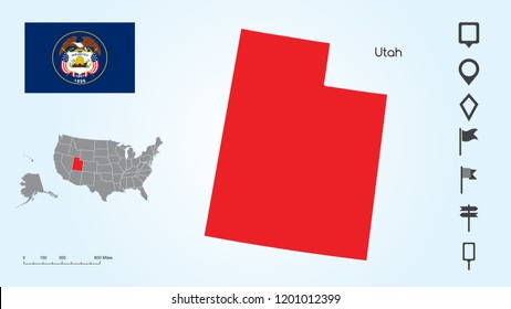 Map of The United States of America with the Selected State of Utah And Utah Flag with Locator Collection.