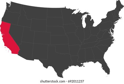 Map of the United States of America split into individual states. Highlighted state of California.
