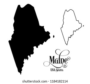 Map of The United States of America (USA) State of Maine - Illustration on White Background