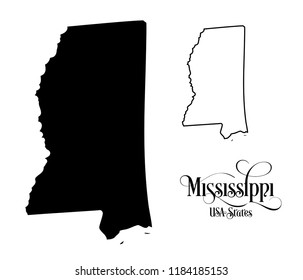 Map of The United States of America (USA) State of Mississippi - Illustration on White Background