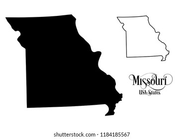 Map of The United States of America (USA) State of Missouri - Illustration on White Background