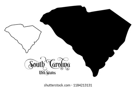 Map of The United States of America (USA) State of South Carolina - Illustration on White Background