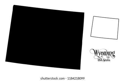 Map of The United States of America (USA) State of Wyoming - Illustration on White Background