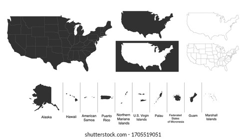 Map of The United States of America USA with territories and Islands. Different map variations for your design. Stock Vector illustration isolated on white background