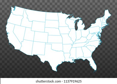 Map of United States of America. Vector illustration on transparent background. Items are placed on separate layers and editable. Vector illustration eps 10.