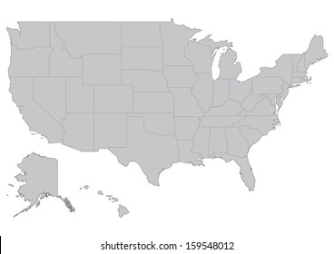 Map of United States of America: vector set. Detailed country shape with region borders isolated on white background.