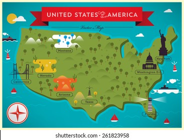Map of United States of America Vector Illustration