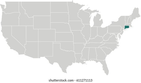 Map of United States with Connecticut Highlighted