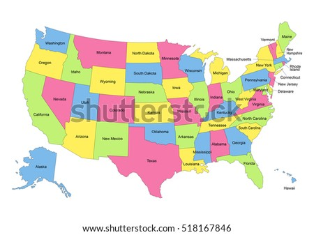Map United States Hawaii Alaska Stock Vector (Royalty Free ...
