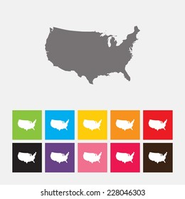 Map of United States icon - Vector