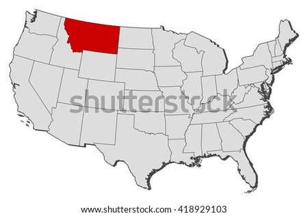 Map United States Montana Stock Vector Royalty Free 418929103