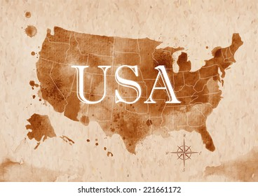 Map of United States in old style , brown graphics in a retro style