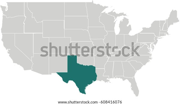 Map United States Texas Highlighted | Royalty-Free Stock Image
